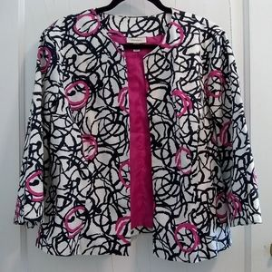 Dress Barn Graphic Print 3/4 Sleeve Jacket Blazer